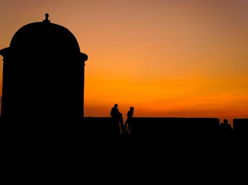 Romantischer Sonnenuntergang in Cartagena