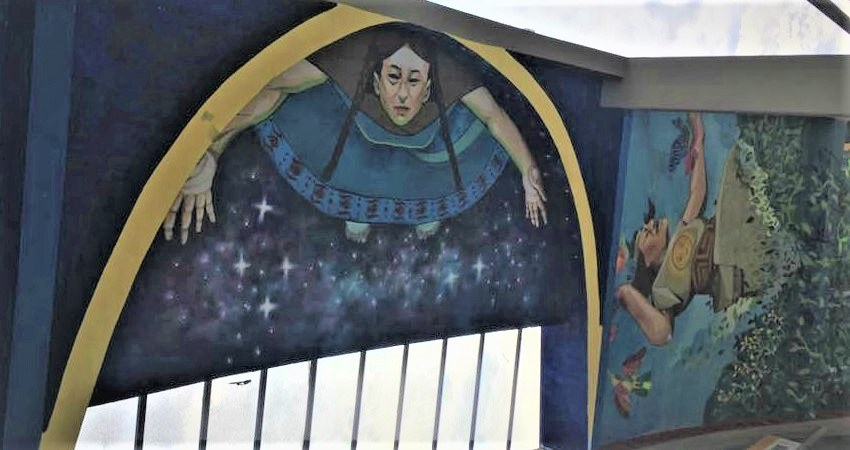 Deckenmalerei des EcoLabs. Bei der Führung wird dem #viventurameets & #WWF Team das Leben anhand der Aymara Kultur erklärt.