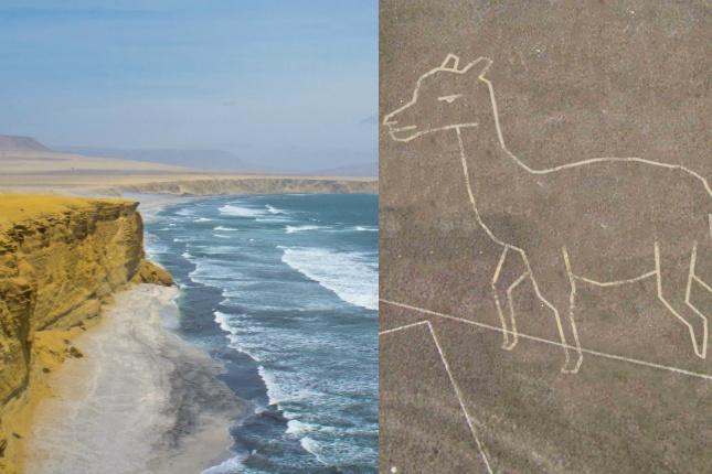 Küstenkunst in Peru: An der Küste ist noch Platz für mehr Nazca-Linien! Wie wäre es mit einem Alpaka?