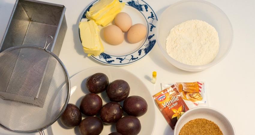Mehr Zutaten braucht es nicht für den Maracuja Kuchen!