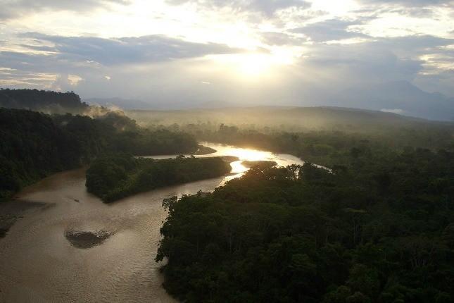 Fantastischer Blick auf das Amazonasgebiet beim Sonnenuntergang.