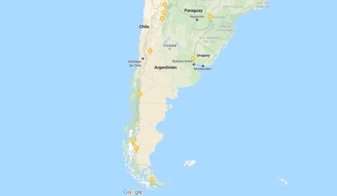 Auf dieser Karte der Argentinien Sehenswürdigkeiten seht ihr unsere persönlichen Top 10 Highlights. Quelle: Google Maps Screenshot